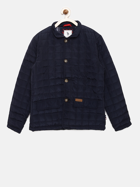 U.S. Polo Assn. Kids Boys Navy Blue Solid Padded Jacket