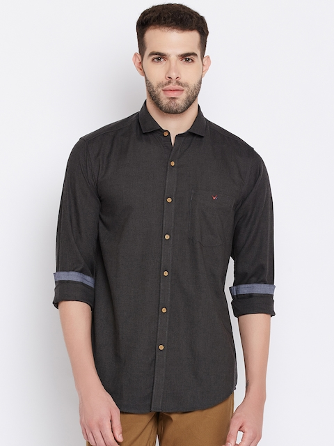Wills Lifestyle Men Charcoal Grey Slim Fit Solid Casual Shirt