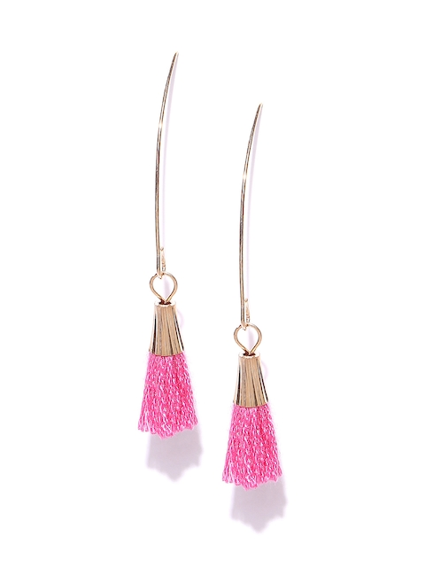 Bellofox Gold-Toned & Pink Tasselled Drop Earrings