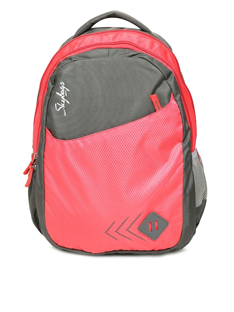 Skybags Unisex Grey & Red Colourblocked Backpack