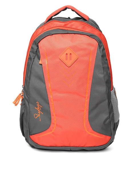 Skybags Unisex Grey & Coral Orange Colourblocked Backpack  available at myntra for Rs.1057
