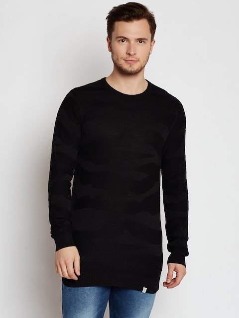 Jack & Jones Men Black Self-Design Pullover
