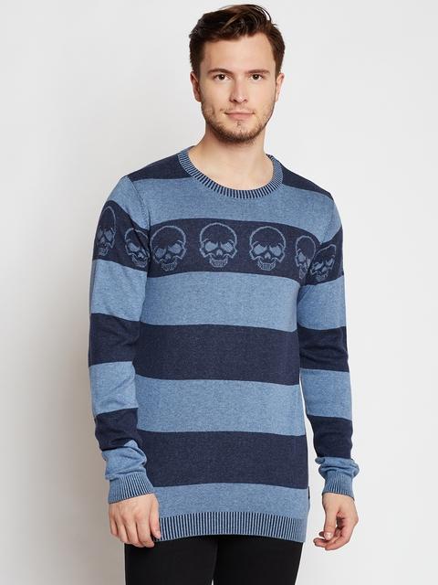 Jack & Jones Men Blue Striped Pullover