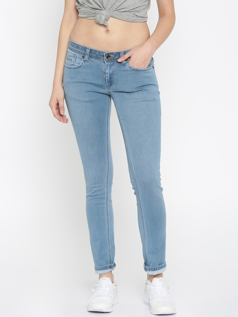Pepe Jeans Women Blue Frisky Slim Fit Low-Rise Clean Look Stretchable Jeans