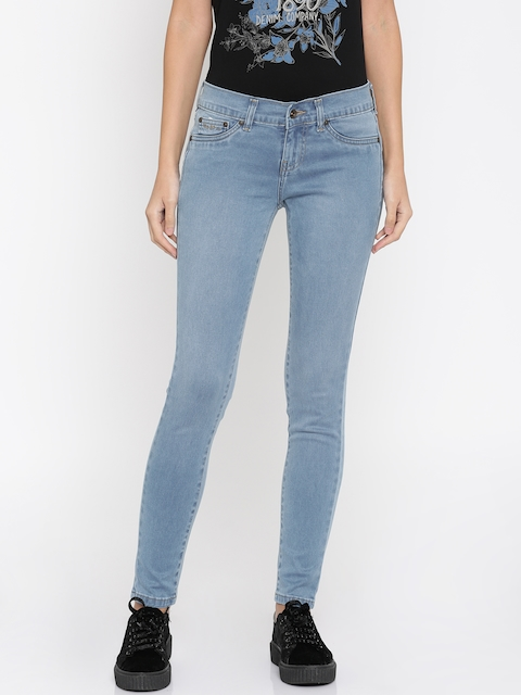 Pepe Jeans Women Blue Jeggings Skinny Fit Low-Rise Clean Look Stretchable Jeans
