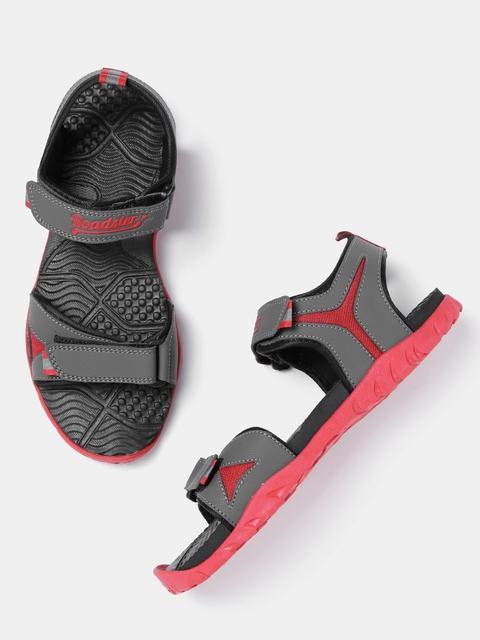 Roadster Men Grey & Red Sports Sandals
