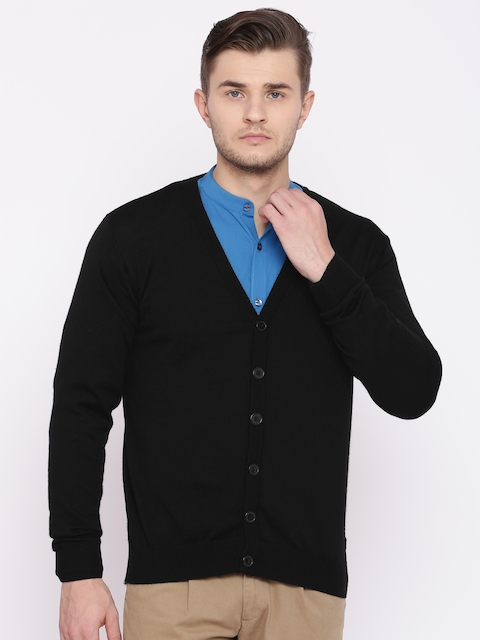 Raymond Men Black Solid Woollen Cardigan