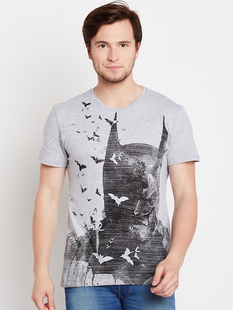 Batman Men Grey Melange Printed Round Neck T-shirt
