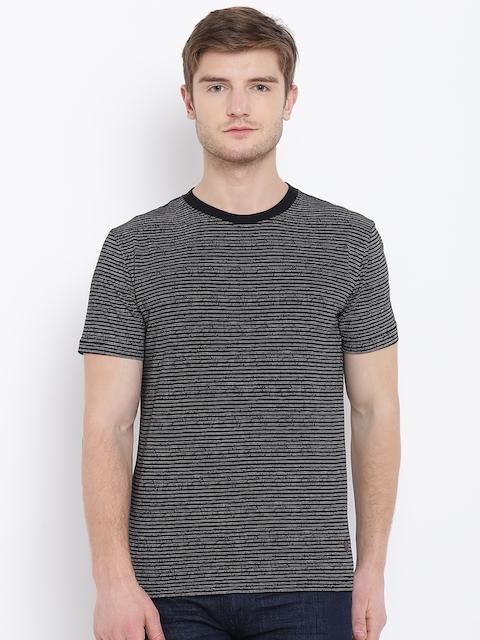 John Players Men Black & Off-White Striped Round Neck T-shirt
