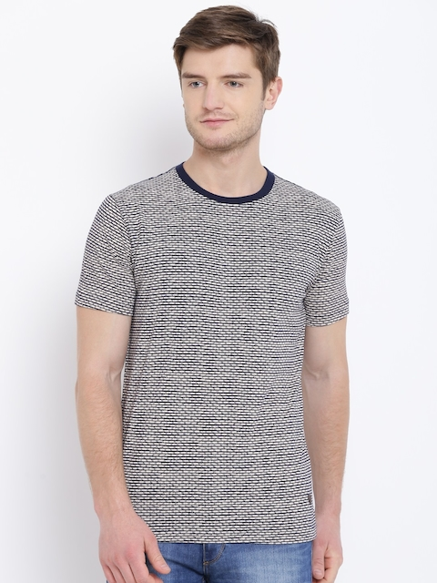 John Players Men Beige & Navy Printed Round Neck T-shirt