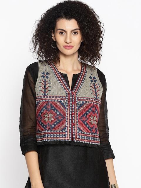 Melange by Lifestyle Women Multicoloured Self-Design Ethnic Jacket