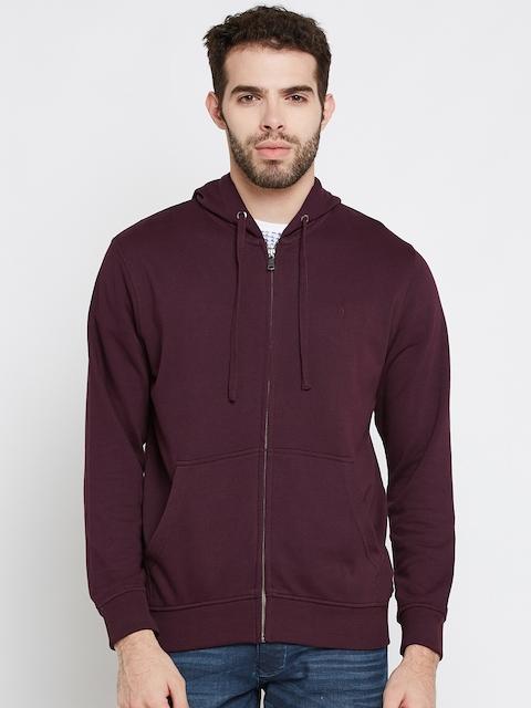 Indian Terrain Men Burgundy Solid Hooded Sweatshirt