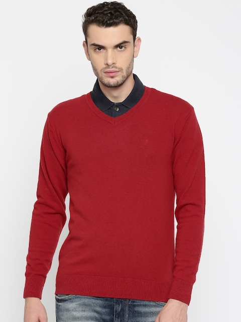 Indian Terrain Men Red Solid Pullover