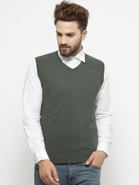 Indian Terrain Men Olive Green Solid Sleeveless Sweater