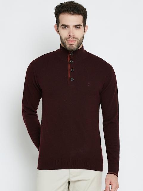 Indian Terrain Men Maroon Solid Sweater