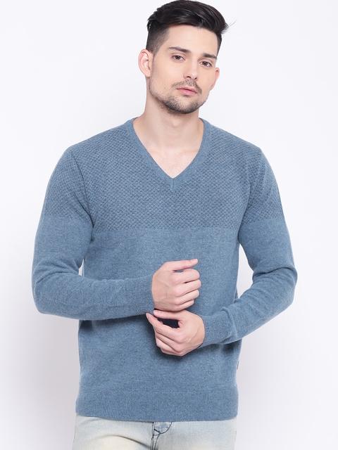 Indian Terrain Men Blue Solid Pullover