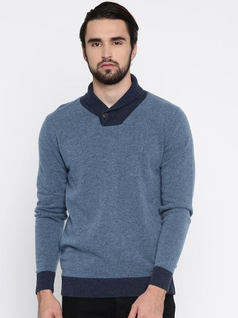 Indian Terrain Men Blue Solid Woollen Pullover