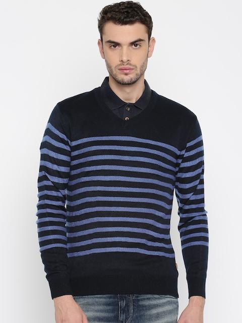 Indian Terrain Men Navy Blue Striped Pullover