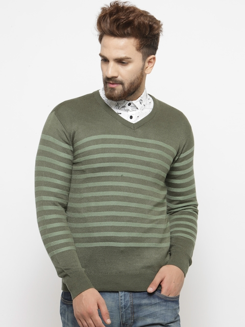 Indian Terrain Men Olive Green Striped Sweater
