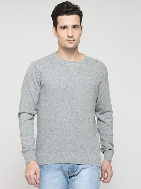 Indian Terrain Men Grey Melange Flecked Effect Sweater