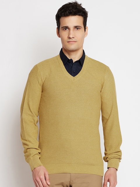 Indian Terrain Men Mustard Yellow Self-Design Sweater