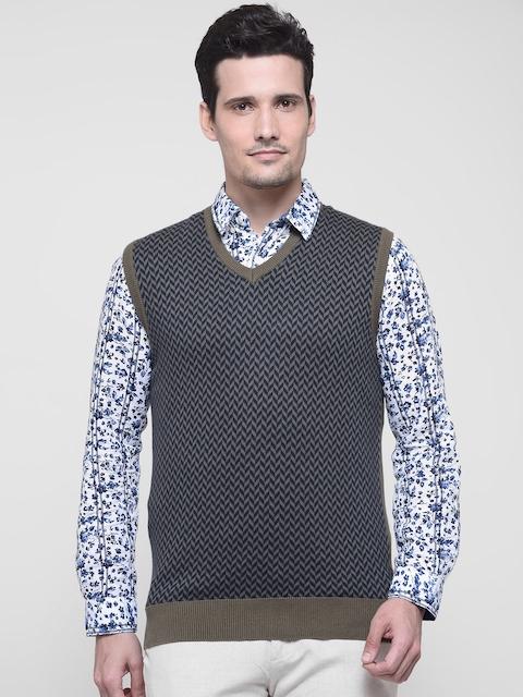 Indian Terrain Men Olive Green & Navy Self-Design Sleeveless Sweater