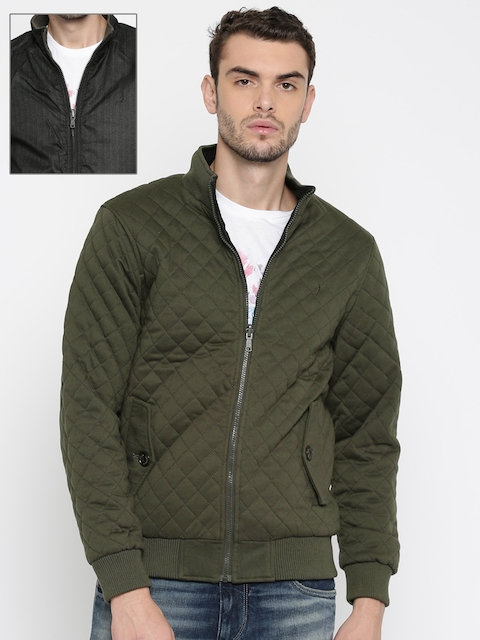 Indian Terrain Men Olive Green & Charcoal Grey Reversible Quilted Jacket