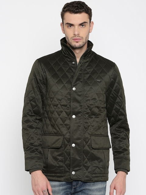 Indian Terrain Men Olive Green Solid Quilted Jacket