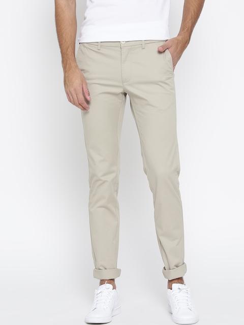 Indian Terrain Men Beige Brooklyn Slim Fit Solid Trousers