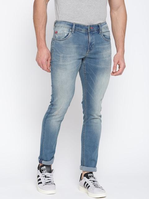 Lee Cooper Men Blue Slim Fit Low-Rise Low Distress Stretchable Jeans