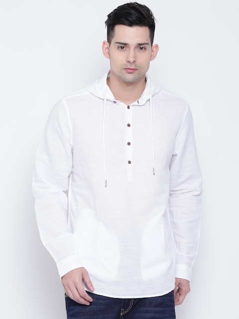 Lee Cooper Men White Contemporary Fit Solid Hooded Casual Shirt