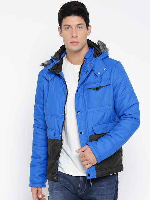 Voi Jeans Men Blue Solid Padded Jacket
