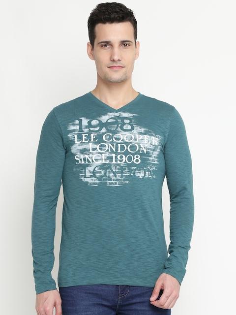 Lee Cooper Men Green Printed V-Neck T-shirt