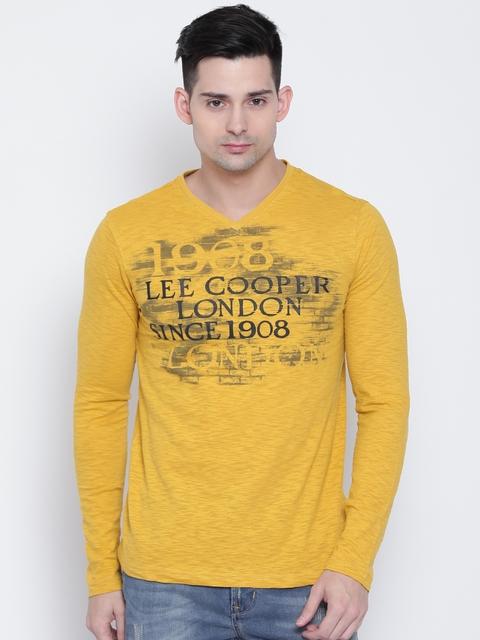 Lee Cooper Men Mustard Yellow Printed V-Neck T-shirt
