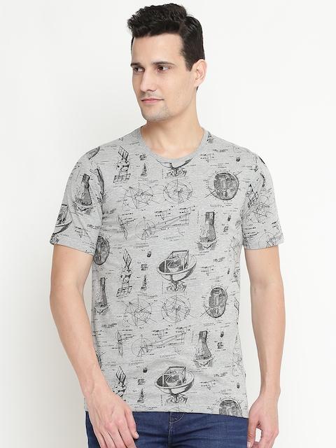 Lee Cooper Men Grey Melange Printed Round Neck T-shirt