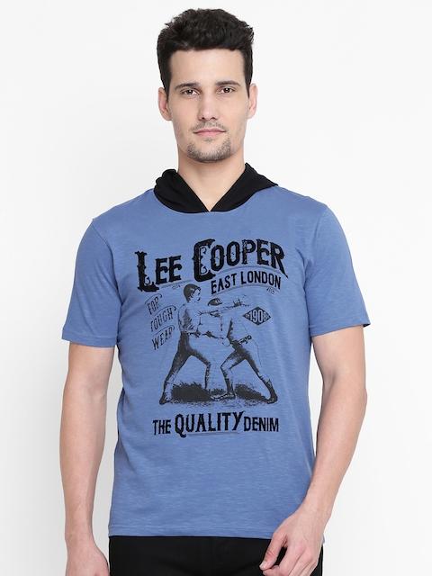 Lee Cooper Men Blue Printed Hooded T-shirt