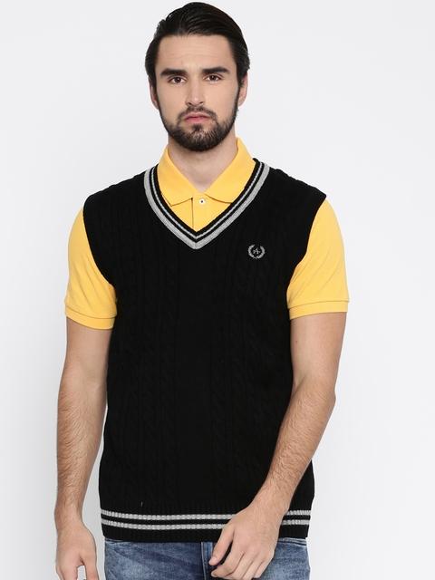 Arrow Sport Men Black Self Design Sweater Vest