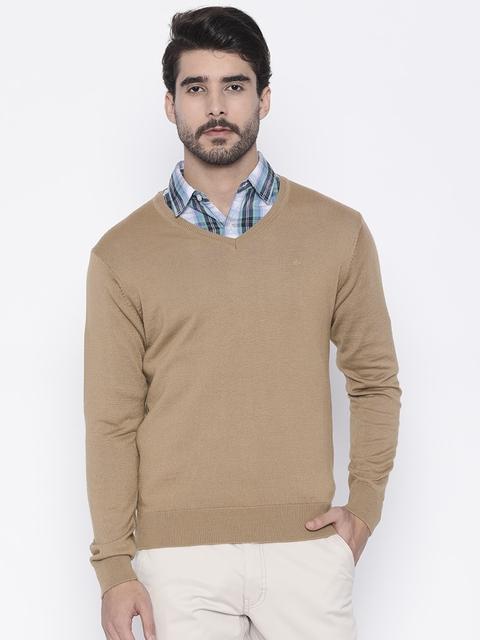 Arrow Men Beige Solid Pullover