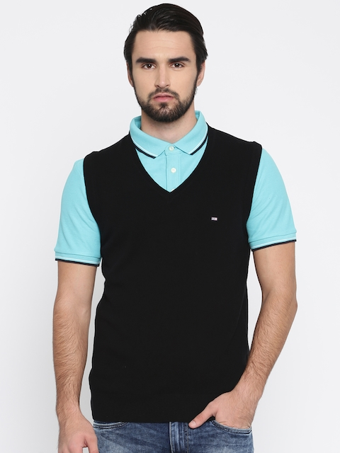 Arrow Sport Men Black Solid Sweater Vest