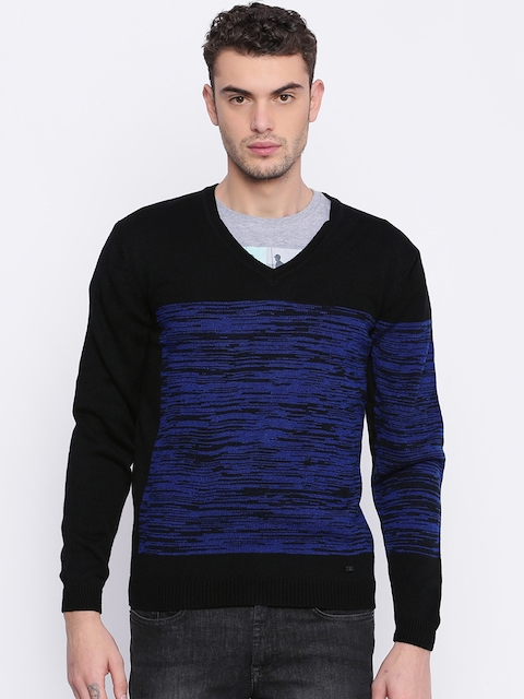 Arrow New York Men Black & Blue Self Design Sweater