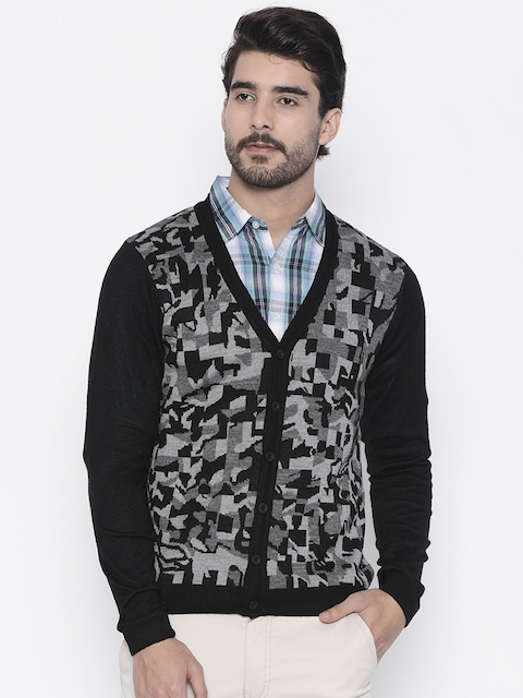 Arrow New York Men Black & Grey Self Design Cardigan