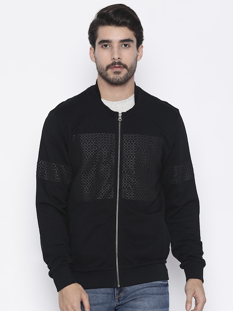 Arrow New York Men Black Solid Sweatshirt