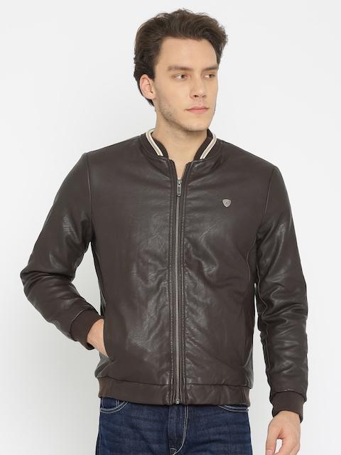 Arrow Sport Men Brown Solid Bomber Jacket
