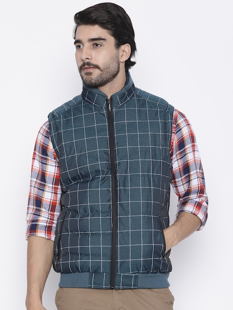 Arrow New York Men Blue Checked Bomber Jacket