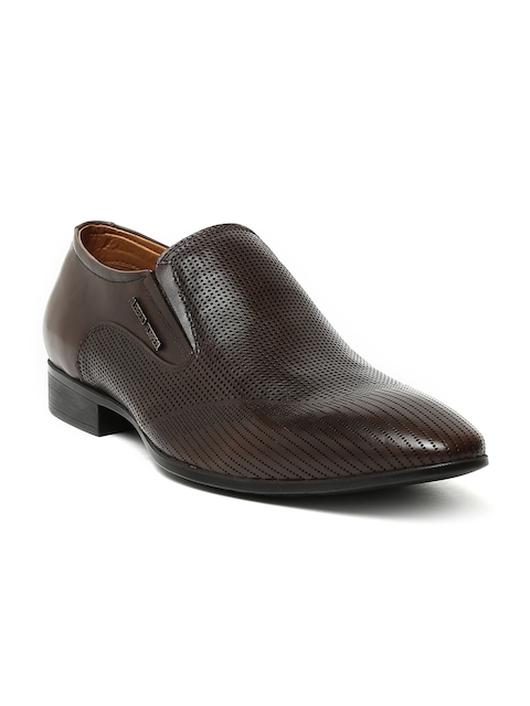 Alberto Torresi Men Brown Pointy-Toed Perforated Leather Slip-Ons