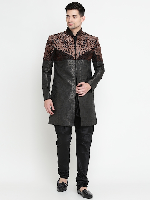 Manu Black Patterned Embroidered Sherwani