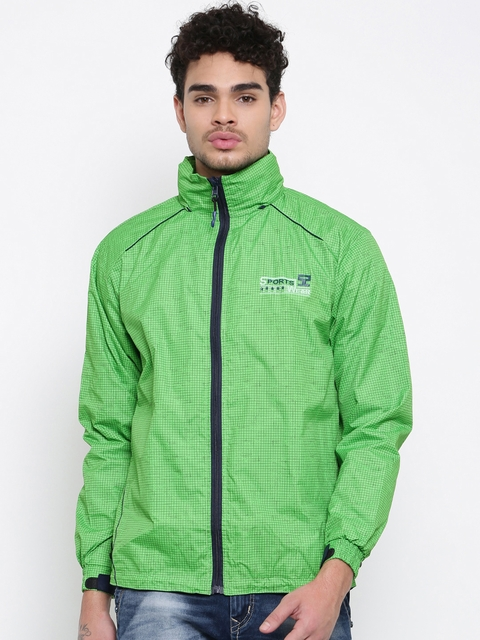 Sports52 wear Green Checked Hooded Rain Jacket