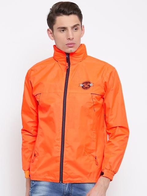 Sports52 wear Men Orange Comfort Fit Hooded Rain Jacket