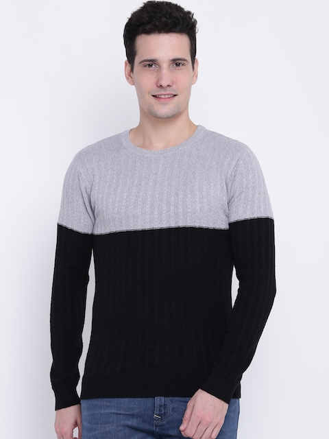 United Colors of Benetton Men Black & Grey Colourblocked Sweater