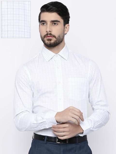 Arrow Men White & Green Slim Fit Checked Formal Shirt